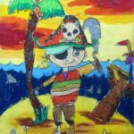 Andrew - Pirate, Oil pastel and poster paint.
