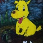 Andrew - Playful dog, Oil pastel, tempera paint.
