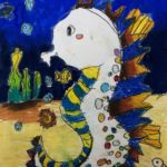 Andrew - Seahorse, Oil pastel and poster paint.