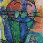 Gabriel - Cat, Crepe papers and oil pastel.