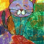 Jayna - Cat, Oil pastel and crepe papers.