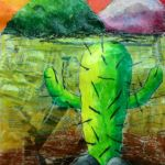 Sen Hei - Cactus, Mixed media (newspapers and oil pastel).